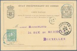 Belgisch-Kongo: 1893, 5 C Green Additional Franking On 10 C Black Postal Stationery Card, Cancelled - Belgisch-Kongo