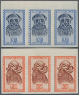 Belgisch-Kongo: 1949, African Art 3 Franc And 6,50 Franc Imperforated In Strip Of Three - Belgisch-Kongo