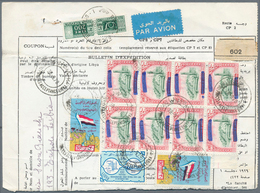 Libyen: 1970: Parcel Card Sent To Italy Franked With 1965 High Value 500 M In Very Fine Bloc Of Eigh - Libyen