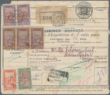 """Tunesien - Paketmarken: 1925, 11.65fr. Rate On Parcel Despatch Form From """"NABEUL 19.12.25"""" To Horgen - Tunesien (1956-...)"""