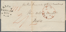 """Canada - Vorphilatelie: 1814, Folded Packet- Letter From London Via Falmouth By """"Louisa"""" To """"HALIFAX - Kanada"""
