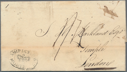 Canada - Vorphilatelie: 1824, MONTREAL AND DOVER SHIP LETTER, Folded Letter Sent Marked With Black O - Kanada