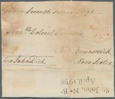 "Neubraunschweig: 1798, Incoming Letter Bearing Red ""FREE"" Mark From London 7 Febr. 1798, Addressed T - Neu-Brunswick"