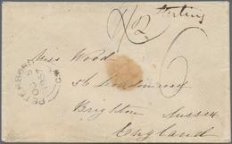 "Canada: 1857, Envelope From ""PETERBORO C.W. OC 5 1857"" Sent By ""Allan Line"" Ship Via London To Brigh - Kanada"