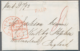 """Canada: 1857, Folded Letter With Red """"TORONTO PAID MAY 25 1857"""" And """"PKT. LETTER PAID LIVERPOOL"""" Wit - Kanada"""