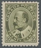 "Canada: 1904, ""20 C. KE VII."", Mint Hinged, Very Fresh And Fine, SG 300,--. ÷ 1904, ""20 C. Bronzegrü - Kanada"