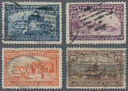 Canada: 1908 'Quebec' 5c., 10c., 15c. And 20c., All Used, The 5c. And 10c. With A Small Tin At Top, - Kanada