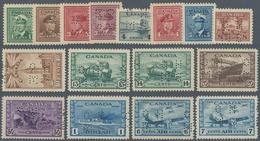 Canada - Dienstmarken: 1942/1943, KGVI War Effort Punctured 'O H / M S' Complete Set Of 16 Incl. The - Aufdrucksausgaben