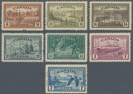 Canada - Dienstmarken: 1946, KGVI Peace Re-conversion Punctured 'O H / M S' Complete Set Of Seven In - Aufdrucksausgaben