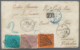 Costa Rica: 1869, III. Emission, 80 C Rose, 10 C Orange And 5 C Blue, Tied By The Dotted Papal Grill - Costa Rica