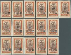 "Martinique: 1924, Revaluation Overprints, 25c. On 5fr. Orange/brown ""Sugarcane Harvest"", Group Of 16 - Martinique (1886-1947)"
