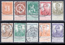 Belgique 1912 Yvert 108 / 117 (o) B Oblitere(s) - 1912 Pellens