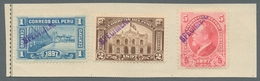 Peru: 1897-1900, FRANQUEO Provisional Stamp, Post Office Building Commemorative Set Of 3 And Ropez D - Peru