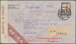 """Peru: 1942, 2 Airmail Covers From LIMA To A Pilot At """"Rhodesian Air Taining Group"""" In Salisbury, Sou - Peru"""