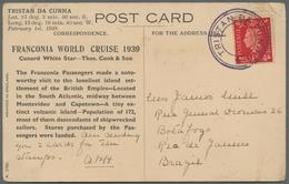 Tristan Da Cunha: 1939, Scarce Franconia World Cruise Greeting Card From Tristan Da Cunha To Brazil. - Tristan Da Cunha