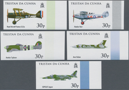 Tristan Da Cunha: 2008, 90 Years Royal Air Force (RAF) Complete IMPERFORATE Set Of Five And The Impe - Tristan Da Cunha
