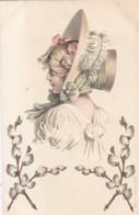 AO19 Embossed Postcard - Pretty Woman Wearing A Bonnet - Women