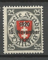 Danzig 1930 Mi.Nr. 224  Ten Years Danzig 25 Pfg  Mint   Hinged X - Danzig