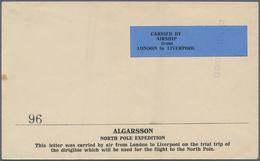 Thematik: Arktis / Arctic: 1924, ALGARSSON NORTH POLE EXPEDITION, Envelope With Blue Label Inscribed - Sonstige