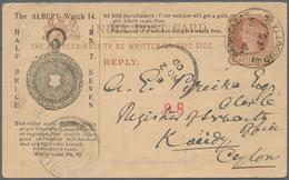 """Thematik: Uhren / Clocks: 1900, Stationery Card India """"BAGH-BAZAAR CALCUTTA NO 2 00"""" To Ceylon,with - Uhrmacherei"""