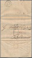 Disinfection Mail: 1831, 18.November, Faltbrief Mit Komplettem Inhalt Nach Bordeaux, Vs. Taxvermerk - Gesundheit