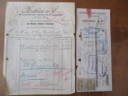 LIESSIES MATHIEU & Cie SCIERIE MECANIQUE BOIS DE TOUTES ESSENCES FACTURE DU 8 MAI 1923 ET TRAITE DU 9 MARS 1923 TIMBRES - France
