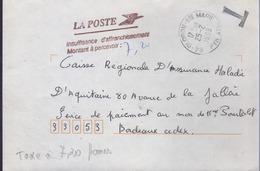 Lettre Taxée à 7,20 Frs Griffe Violette De Bordeaux - Taxes