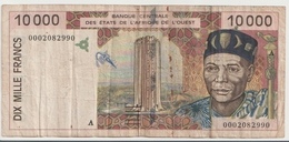WEST AFRICAN STATES P. 114Ai 10000 F 1995 F - Costa D'Avorio