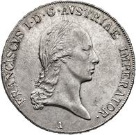 """Österreich: 1824, """"Franz II."""" 1 Thaler In 833er Silber Aus Der Prägestätte A In Vorzüglicher Erhaltu - Oesterreich"""