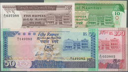 Mauritius: Nice Set With 4 Banknotes With 5 And 10 Rupees ND(1985-91) P.34, 35b In XF And 50, 100 Ru - Mauritius