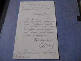 LETTRE AUTOGRAPHE SIGNEE DE DANIEL IFFLA-OSIRIS 1881 FINANCIER BORDEAUX CHATEAU MALMAISON SYNAGOGUES JUDAÏCA - Autógrafos