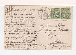Sur CPA De Sohières Pour Lyon CAD Sohières Berne 1907 Sur Paire De 5 C. Vert. (2465x) - Marcofilia