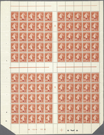 """Frankreich: 1914, Red Cross, Semeuse 10c.+5c. Red, Cross Gutter Pane Of 100 Stamps With Millesime """"4 - Unclassified"""