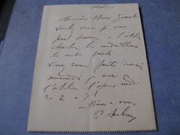 LETTRE AUTOGRAPHE SIGNEE DE PAUL AUBAN 1900 SCULPTEUR STATUAIRE FALGUIERE NANTES PERONNE GUERRES FEMMES - Autógrafos