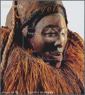 Angola: 2002, MASKS, Investment Lot Of 500 Souvenir Sheets (Mi.no. Bl.99; Cat. Val. 2750,- €). - Angola