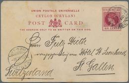 Ceylon / Sri Lanka: 1890/1947 (ca.), Lot Of 28 Covers/cards/stationeries, Incl. Used Stationeries, A - Sri Lanka (Ceylon) (1948-...)