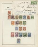 Haiti: 1881-1890, Sammlung Mit 21 Einzelmarken Und Einem Schönem Brief Mit Waagerechtem Paar 5c. Lib - Haiti