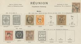 Reunion: 1885, Interessantes Los Von 6 Aufdruckwerten, Dabei Eine Marke Gestempelt - Ohne Zuordnung