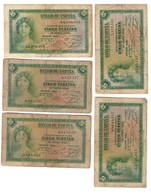 Spain Lot 5 Banknotes 5 Pesetas 1935 - 5 Pesetas
