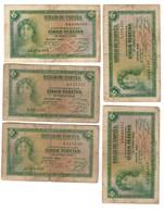 Spain Lot 5 Banknotes 5 Pesetas 1935 - [ 2] 1931-1936 : Republiek