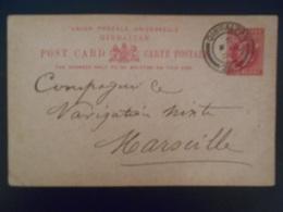 Gibraltar Entier Postal De 1906 Pour Marseille En L Etat - Gibraltar