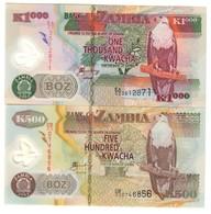 Zambia Lot Set 500 & 1000 Kwacha 2003 UNC .PL. - Zambia