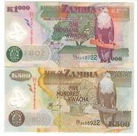 Zambia Lot Set 500 & 1000 Kwacha 2004 UNC .PL. - Zambia