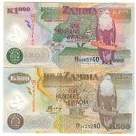 Zambia Lot Set 500 & 1000 Kwacha 2005 UNC .PL. - Zambia