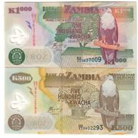Zambia Lot Set 500 & 1000 Kwacha 2006 UNC .PL. - Zambia