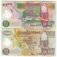 Zambia Lot Set 500 & 1000 Kwacha 2008 UNC .PL. - Zambia