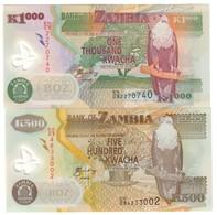 Zambia Lot Set 500 & 1000 Kwacha 2009 UNC .PL. - Zambia