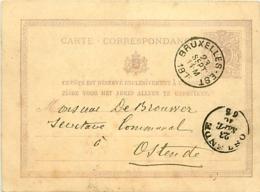 Belgique. CP 6  Bruxelles-Est > Ostende Double Cercle  1870 - Poststempel