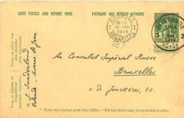 Belgique. CP 45 Demande    Ostende 3 > Bruxelles   1914 - Poststempel