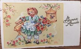 CARTE , Bonné Année, Illustrateur Luce André, Petite Fille Arrosant Des Fleurs Le Texte Bonne Année Est Gaufré - Otros Ilustradores